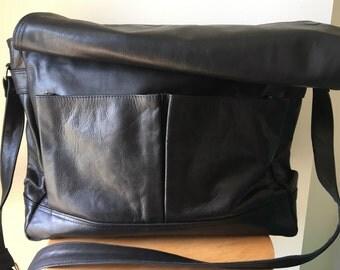 Satchel,messenger work leather handbag,computer bag.Genuine leather,lined adjustable strap.Computer bag,satchel, messenger leather tote bag.