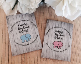 Baby Shower Seed Packets, elephant baby shower favors,  pink elephant, blue elephant, elephant favors, elephant party favors