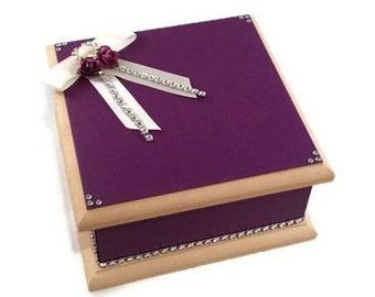 Wedding Keepsake Box - Purple & Cream