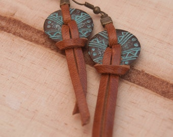Leather and metal earrings. Leather turquoise patina. Tribal earrings