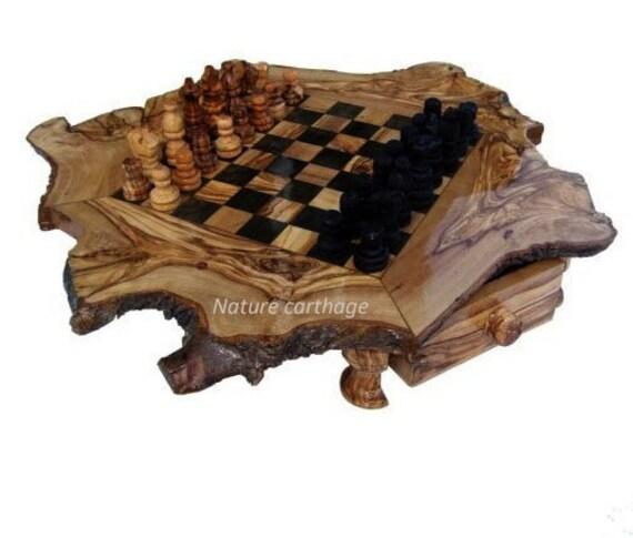 Hochwertiges Schachbrett aus Olivenholz