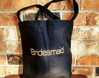 Bridesmaid tote - Bride tote - Bridesmaid Favors - Wedding party favors Special introductory offer 7.00 will be 9.99 July 1, 2016