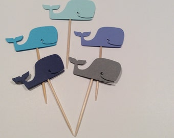 Shades of Blue Whale cupcake toppers,  Party decor, baby shower, happy birthday, Baby shower, 12 per order.