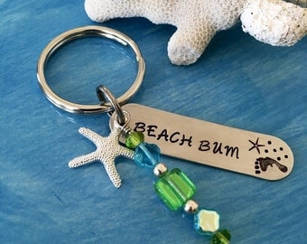 "Handstamped Key Chain, ""beach bum"""
