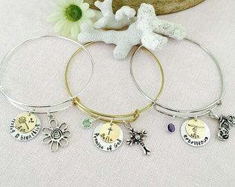 Handstamped Name and Name Meaning Charm Bangle Bracelet