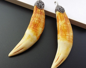 2 pcs Tiger Teeth shape Pendant,With Pave Crystal Rhinetone Caps,Charm Horn Necklace Pendant,Jewelry necklace making PD12