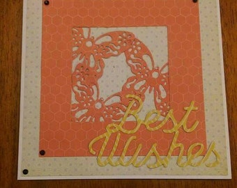 Handcrafted best wishes card card