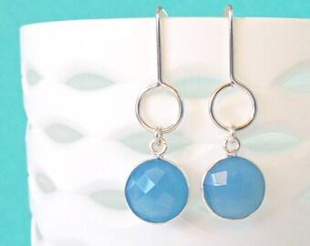 Blue Chalcedony Silver Drop Earrings - Drop Earrings - Dangle Earrings - Gemstone Earrings