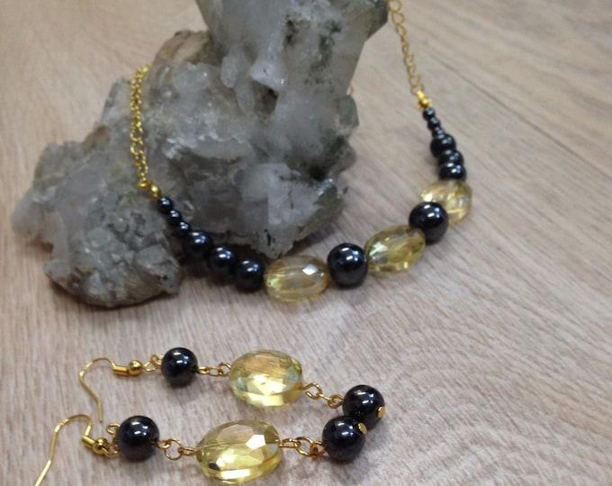Hematite and crystal jewellery, Hematite and crystal necklace, Hematite and crystal earrings, healing jewery, Hematite and crystal jewelry