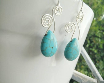 Turquoise Earrings - Turquoise Jewellery - Turquose Silver earrings - Turquoise Dangle and Drop Earrings - Silver earrings-  Turquoise