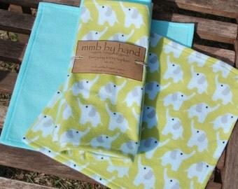 Organic Elephants Everyday KIDS Cloth Napkins - Set of 6 Handmade