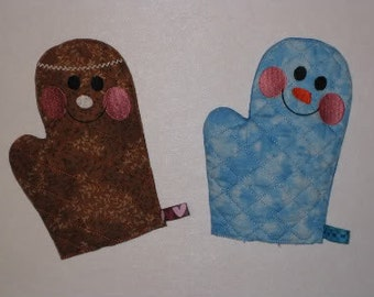 Gingerbreadman and Snowman Pretend Play Oven Mitts In The Hoop Embroidery Machine Designs for the 5x7 hoop