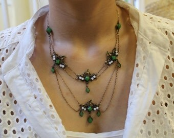 SALE! Art Nouveau Necklace, Antique Deep Green Necklace made of brass, glass pearls and jadeite glass, c. 1890-1900