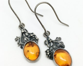 Vintage Sterling Silver & Amber Grape Earrings circa 1980s