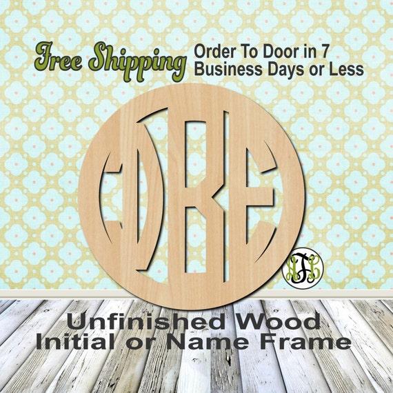 Aubrey Frame Monogram, Circle Frame, Circle Monogram, Custom, laser cut, unfinished, wood cutout, wooden cut out, wood, Personalized, DIY