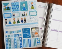 Frozen Snow Princess Weekly Kit Life Planner Stickers! Set of 53 Perfect for the Erin Condren or Plum Paper Planner!!!!