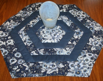 Quilted, Hexagon, Table Topper, Handmade, Blue Pansy