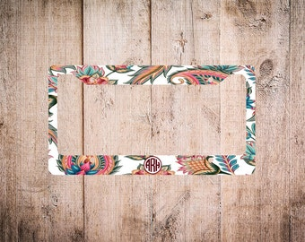 Monogram License Plate Frame, Paisley License Plate, Custom License Plate Frame, Paisley License Plate Frame, Paisley Monogram, Personalized