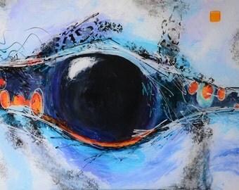 Blue Jay Eye,  modern abstract acrylic painting on plexiglass