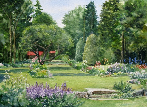Thuya Garden Northeast Harbor Original Watercolor Paintings