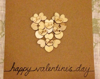 Valentine's Day Card. Wooden Love Hearts