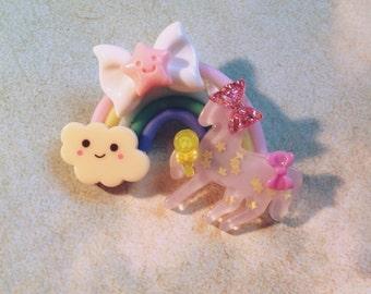 Rainbow Unicorn broach pin Pastel magical girl sparkle clouds glitter pastel grunge