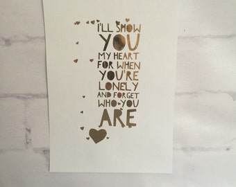 ONE DIRECTION Foil Lyric Art - If I Could Fly Lyrics