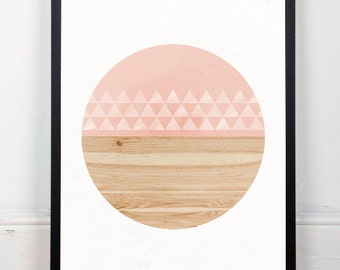 Scandinavian print, Geometric art, Watercolor print, Circles art, Minimalist decor, Wall print, Home decor, Modern art, nordic style