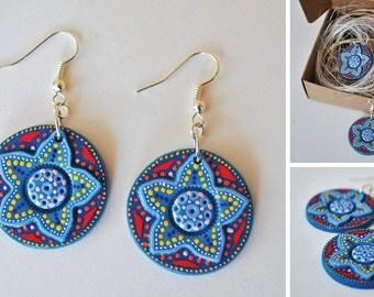 Blue flower / earrings