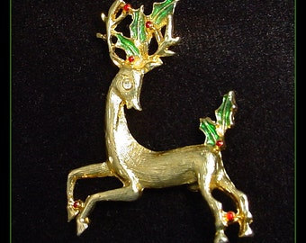 Reindeer Brooch Pin with Holly Berry Accents 1990s