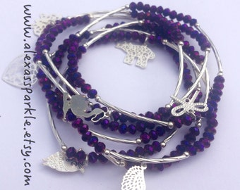 Metallic Purple Beaded Charm Bracelet Set with Silver Charms - Semanario pulseras color purpura/morado metalico  con dijes de plata