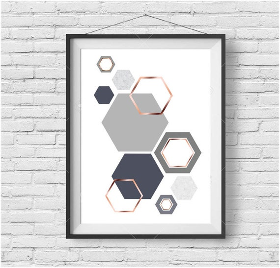 grey and rose gold print gray copper wall art geometric. Black Bedroom Furniture Sets. Home Design Ideas