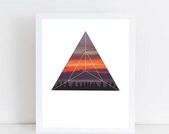 Good Friends and Sunset Art Print - Inspirational Bonfire Camping Wall Art, Orange Sunset Geometric Photography, Printable Friendship Poster
