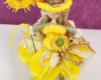 Handmade by Christine's Boutique - Acorn Fairy Doll Sally Sunshine She loves the Sun and Sunflowers