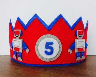 Felt Birthday Crown, Robot Crown, Felt Robot Crown