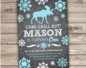 Winter ONEderland Boy Birthday Invitations Arctic Boy Invitations Moose Rustic our little One first birthday 1st aqua theme 2nd NV782