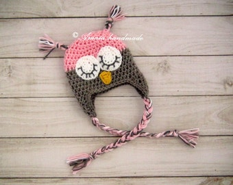 Crochet owl hat,  Baby girl owl hat for Newborn to12 Months, Made to order. Great as an baby girl shower gift.