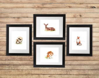 Woodland Watercolor Print Set of 4 / Woodland Nursery art / watercolor set / deer owl fox bunny prints / Watercolor print set / Gallery wall