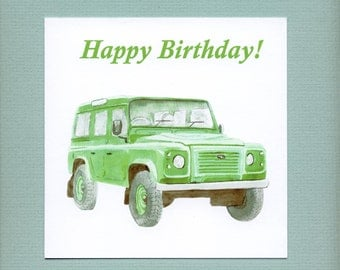Land Rover Defender, green, classic car Birthday Card for men