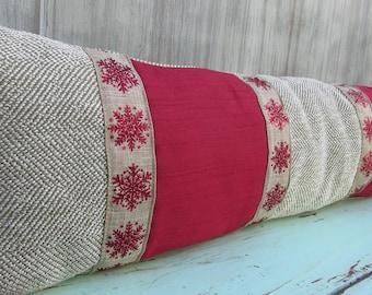 Winter Pillow, Christmas Pillow, Holiday Pillow, Snowflake Pillow, Christmas Décor, Holiday Décor, Winter Décor, Neck Pillow, Red