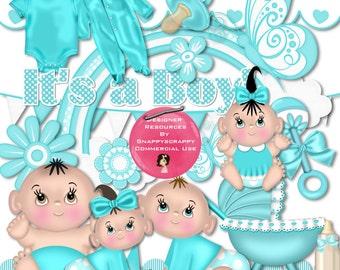 Digital Scrap Kit, Baby Scrap Kits, Digital Scrapbooking, Baby Boy, Baby Girl, Acua Baby Scrap Kit, Commercial Use, Digital Download