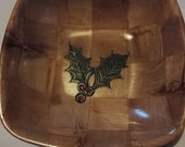 CHRISTMAS HOllY hand painted NATURAL bamboo wooden bowl table decoration unique fruit /nut/ egg basket #christmas