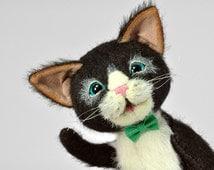 "Stuffed Cat, 5"", Artist Teddy Bear Cat (Stuffed Cat Teddy) - Black and white, Blue Eyes, Bow Tie"