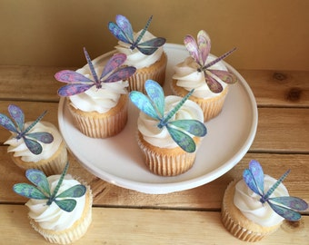 Dragonfly, Dragonflies, Edible Cake Cupcake Toppers, Wafer Paper, Food Safe, Please READ Item Details