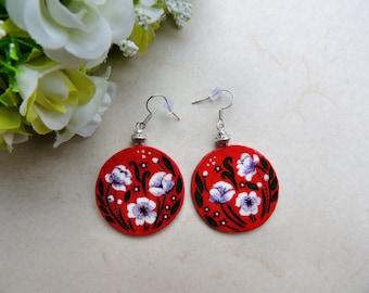 White poppies earrings, handpainted flower earrings, romantic earrings, gift for her, hand painted earrings, handpainted earrings