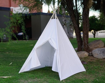 SALE! White canvas teepee tent V2.0 / kids play tent/canvas Tipi with overlapping front doors
