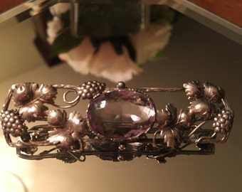 Sterling Pin Purple Morganite Gemstone Center