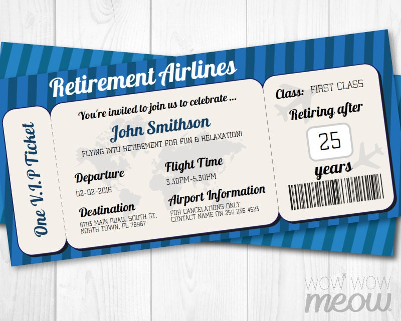 Retirement Invitation Ticket Surprise Retired INSTANT DOWNLOAD