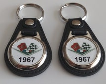 1967 CHEVY KEYCHAINS 2 PACK classic muscle car logo impala belair nomad ect