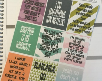 Funny Fitness #1 Quote Stickers! Perfect for your Erin Condren Life Planner, calendar, Paper Plum, Filofax!